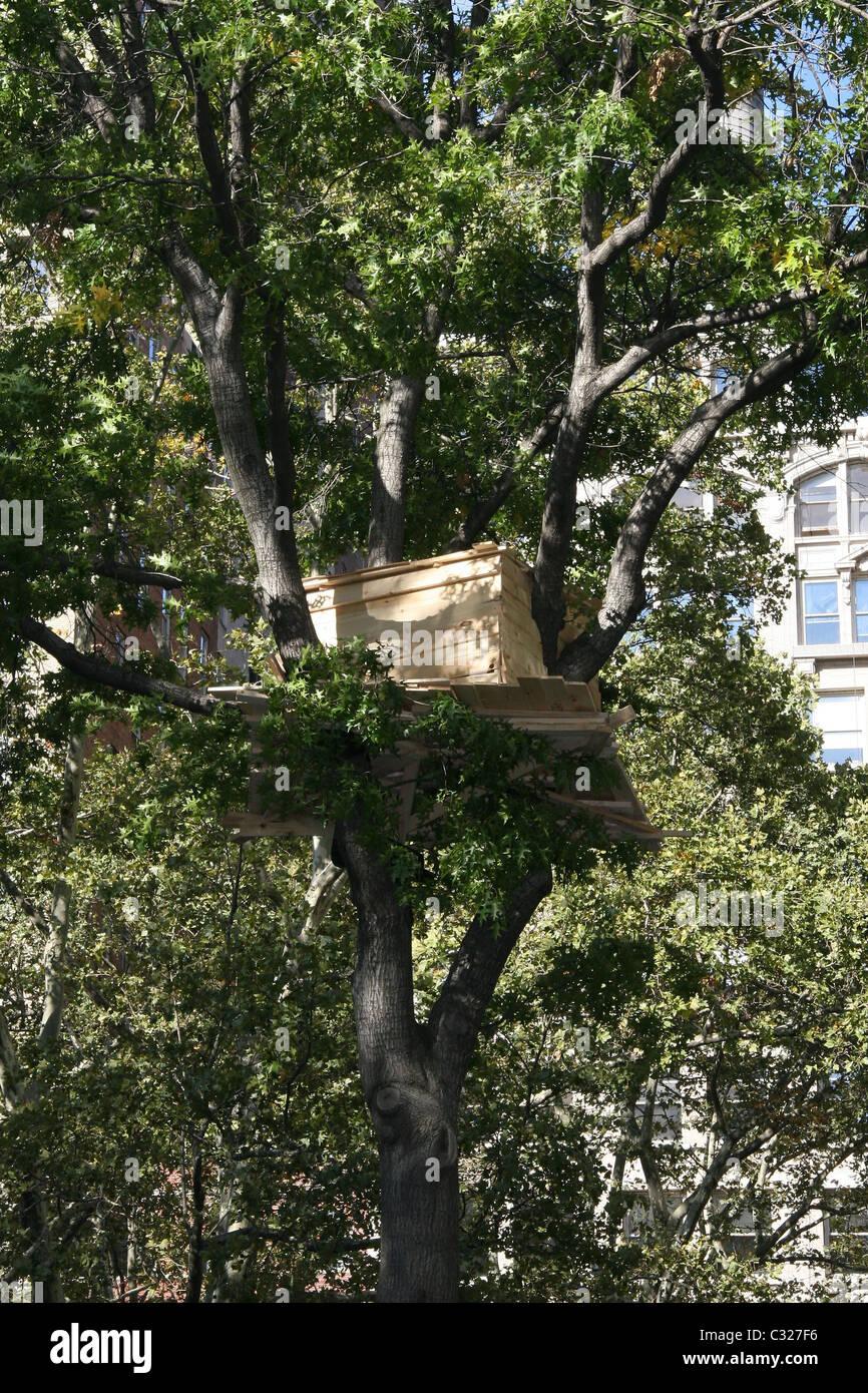 Japanese Artist Tadashi Kawamata Installs Tree Houses In Madison Stock Photo Alamy