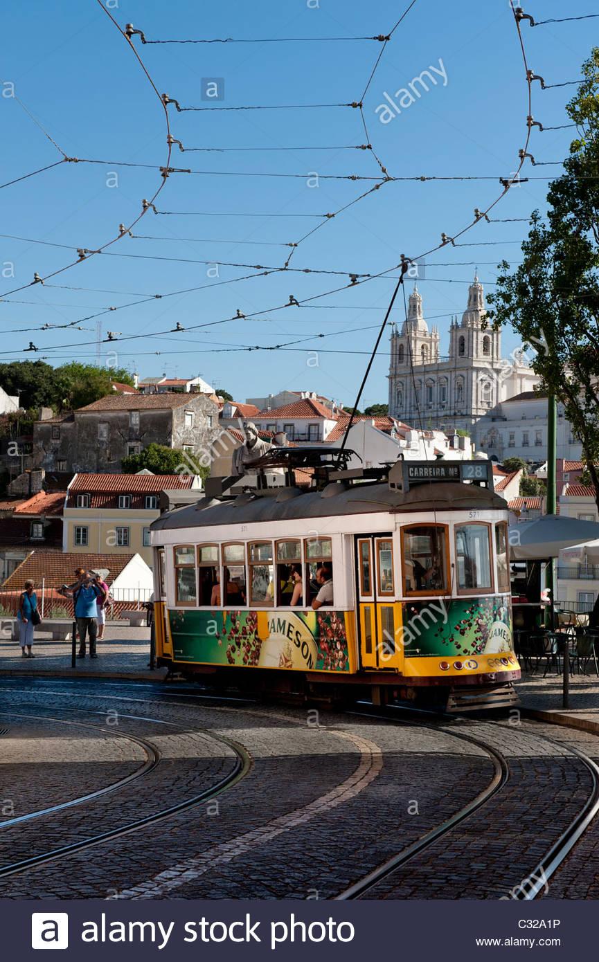 Tram at Largo das Portas do Sol,Alfama Lisbon - Stock Image