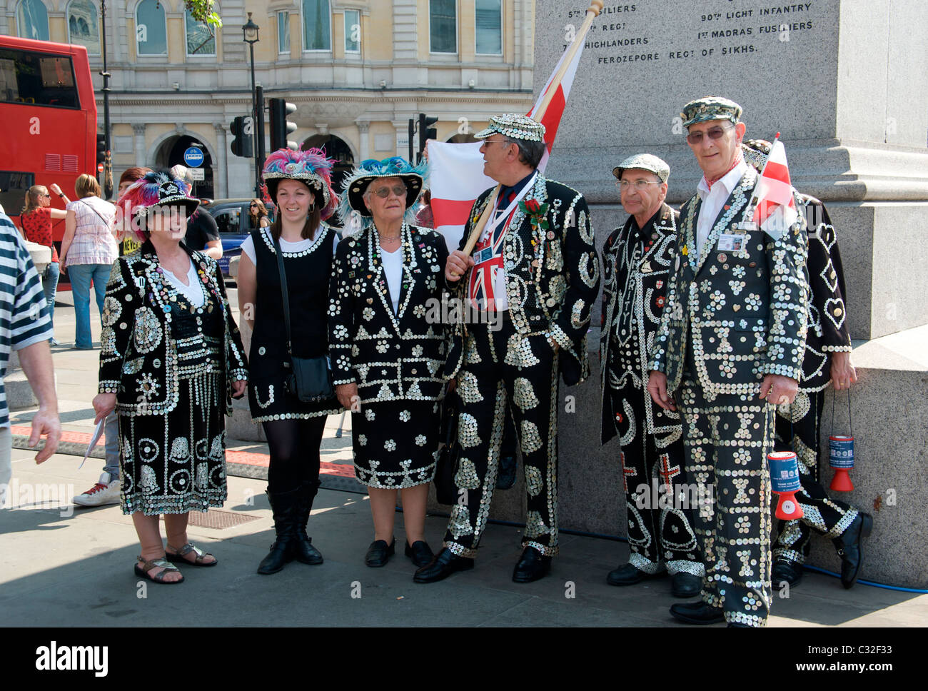 Pearly kings and and queens, Trafalgar Square, London England UK - Stock Image