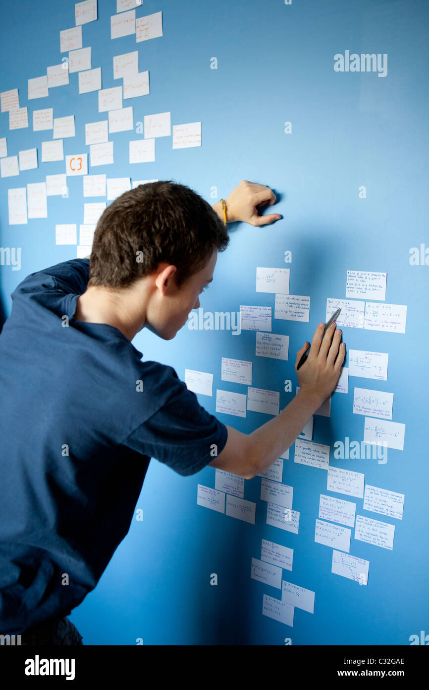 Teenage boy revising for Maths A Level with revision cards stuck on his bedroom wall. - Stock Image
