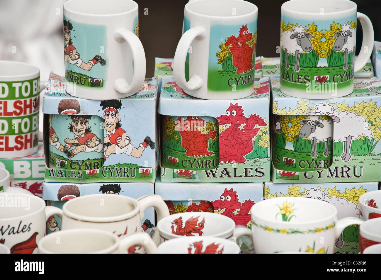 Novelty WALES mugs for sale at National Eisteddfod 2010 Ebbw Vale Blaenau Gwent South Wales UK - Stock Image