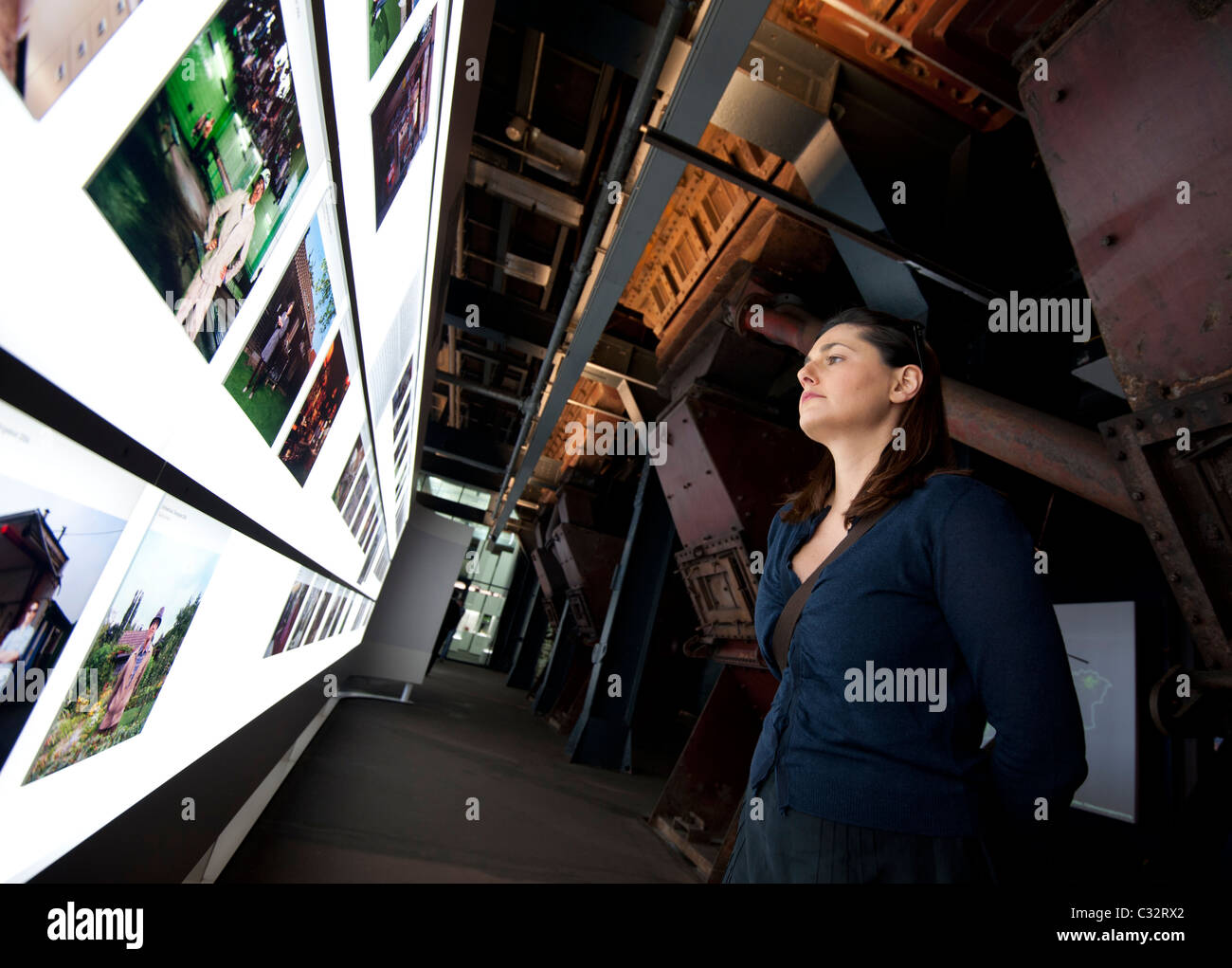 Art exhibition at Interior of former coal mine at Zollverein in Essen Germany now UNESCO World Heritage Site - Stock Image