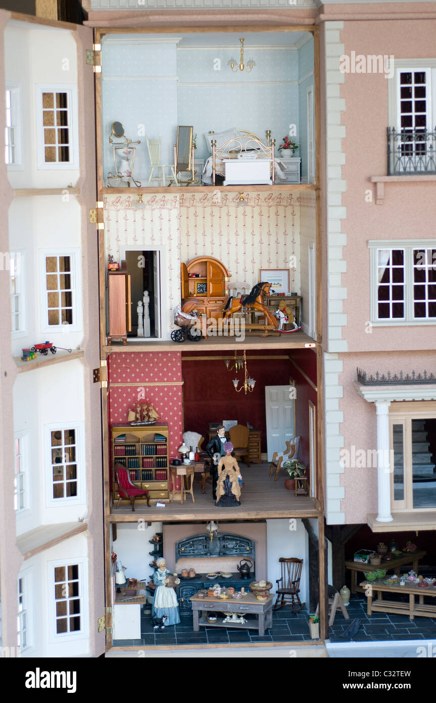 Interior Of Dolls House,interior, Dolls, House, Model, Replica, Victorian,  Little People, Tiny Furniture, Food, Kitchen, Library,replica, Reproduction