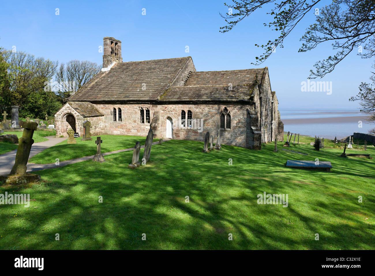 The historic St Peter's church in Heysham Village, near Morecambe, Lancashire, UK - Stock Image