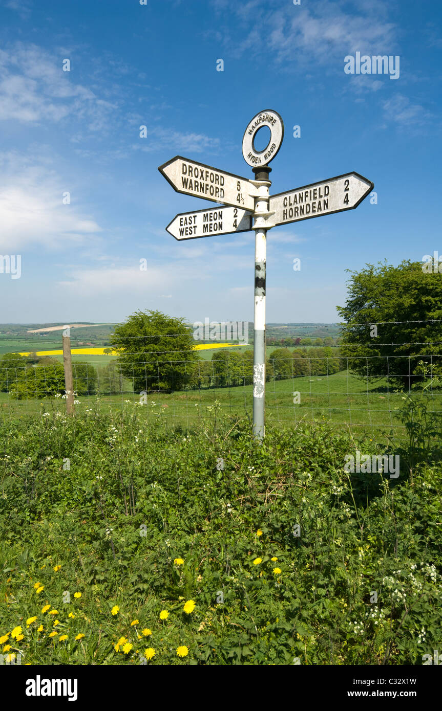 Old Signpost Meon Valley Hampshire UK - Stock Image