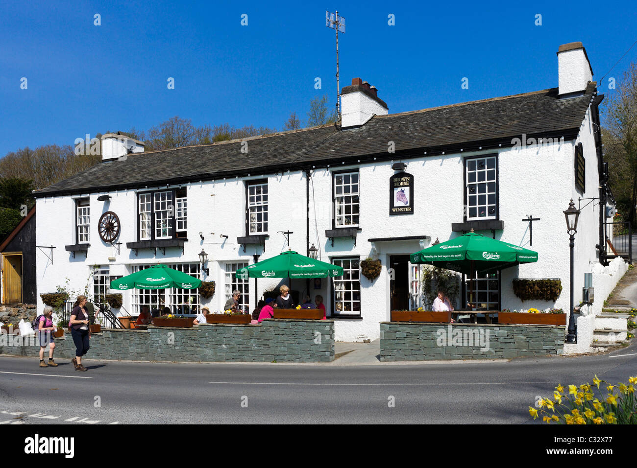 The Brown Horse traditional country pub, Winster, near Lake Windermere, Lake District National Park, Cumbria, UK - Stock Image