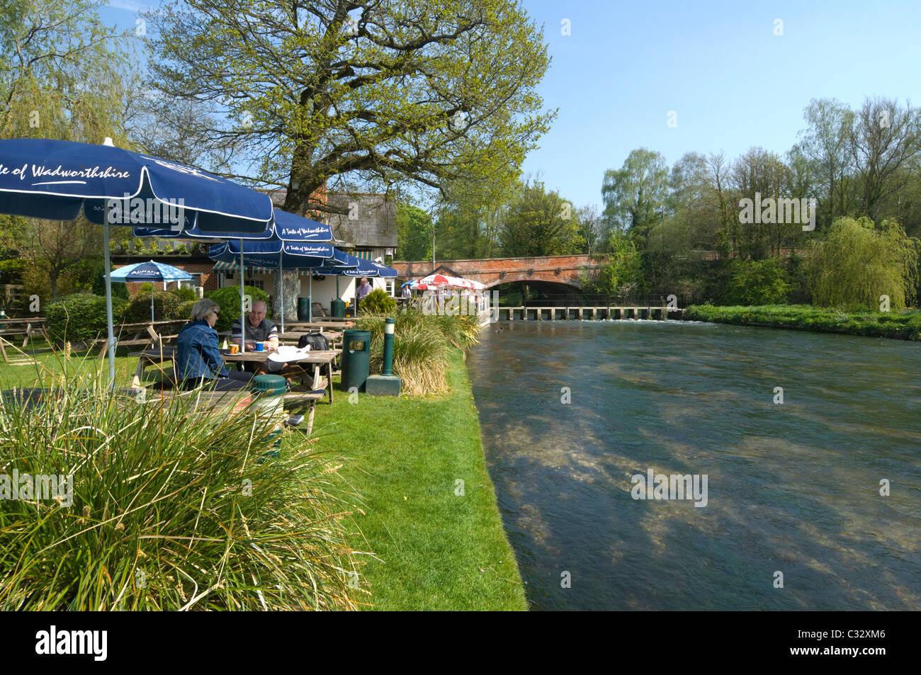 The Mayfly Pub Fullerton River Test Hampshire UK - Stock Image