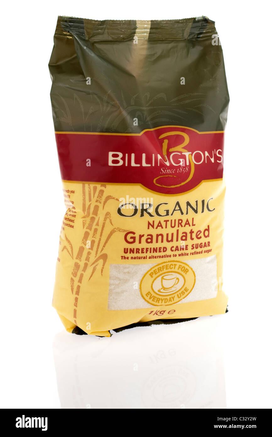 1 kilogram bag of Billingtons organic natural granulated unrefined cane sugar for everday use - Stock Image