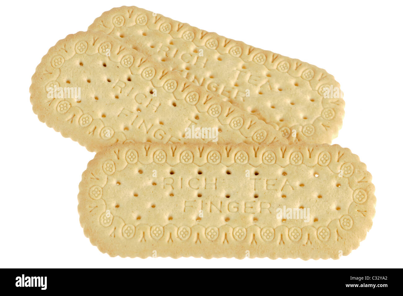 Three Rich Tea finger biscuits - Stock Image