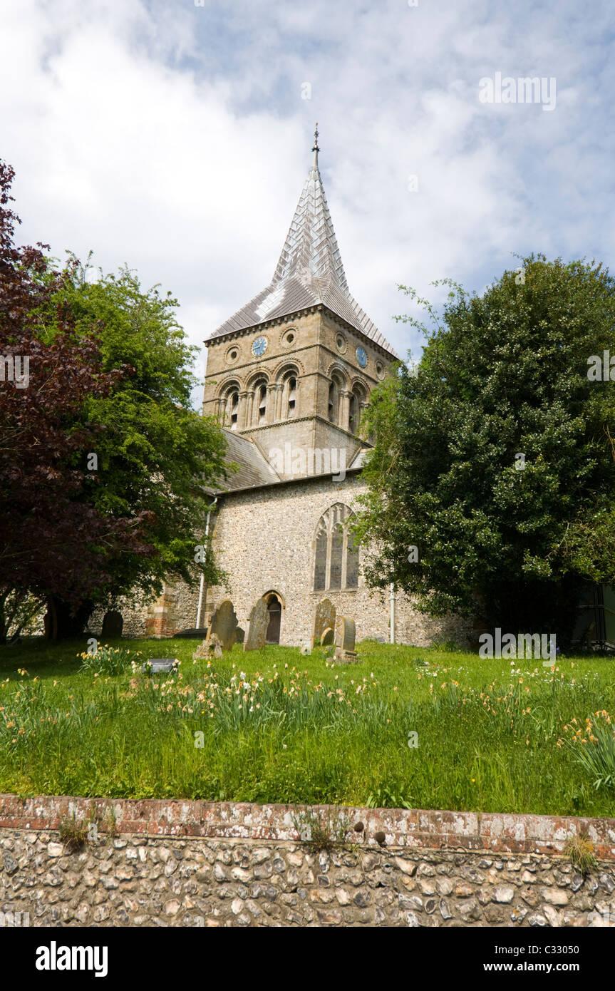 All Saints Parish Church East Meon Valley Hampshire UK - Stock Image