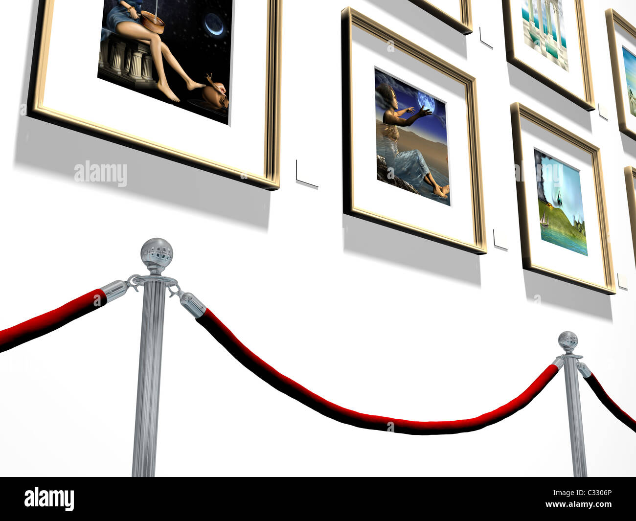 Illustration of pictures hanging on a gallery wall - Stock Image