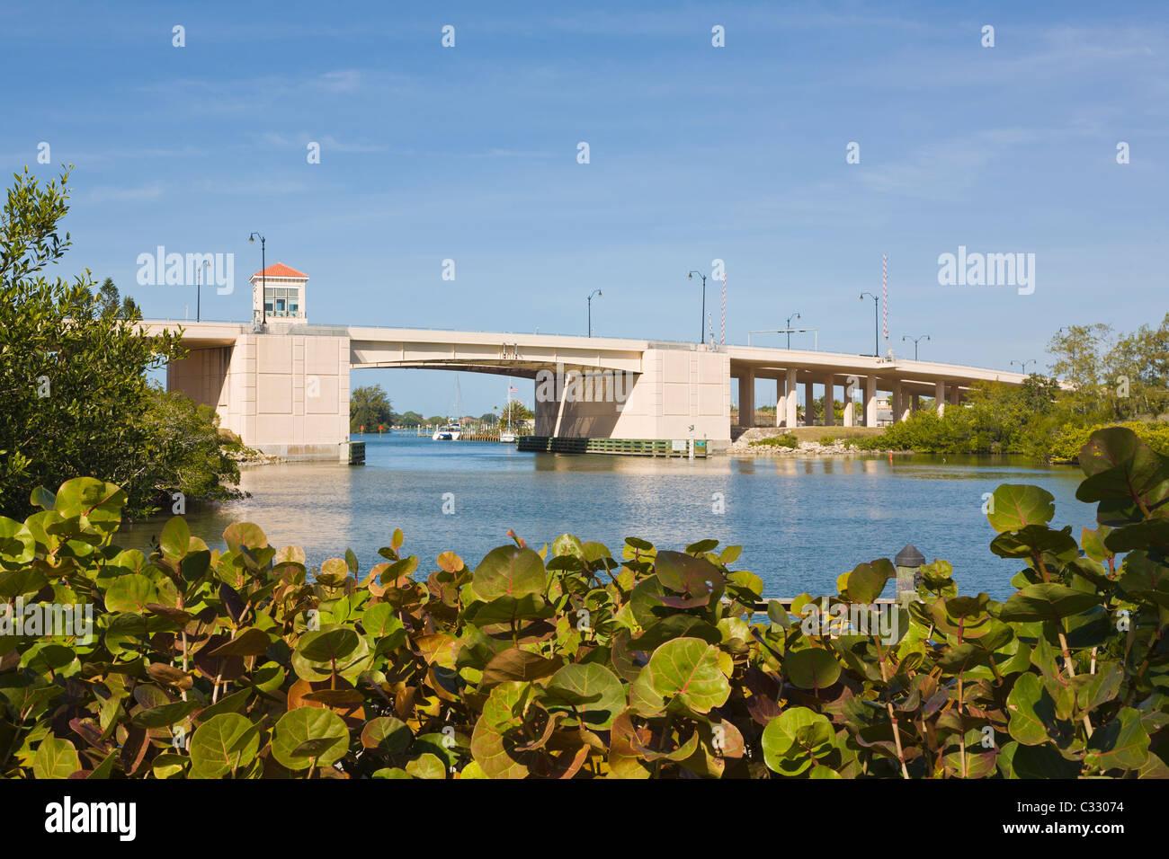 Lift bridge over Gulf Intercoastal Waterway in Venice Florida - Stock Image