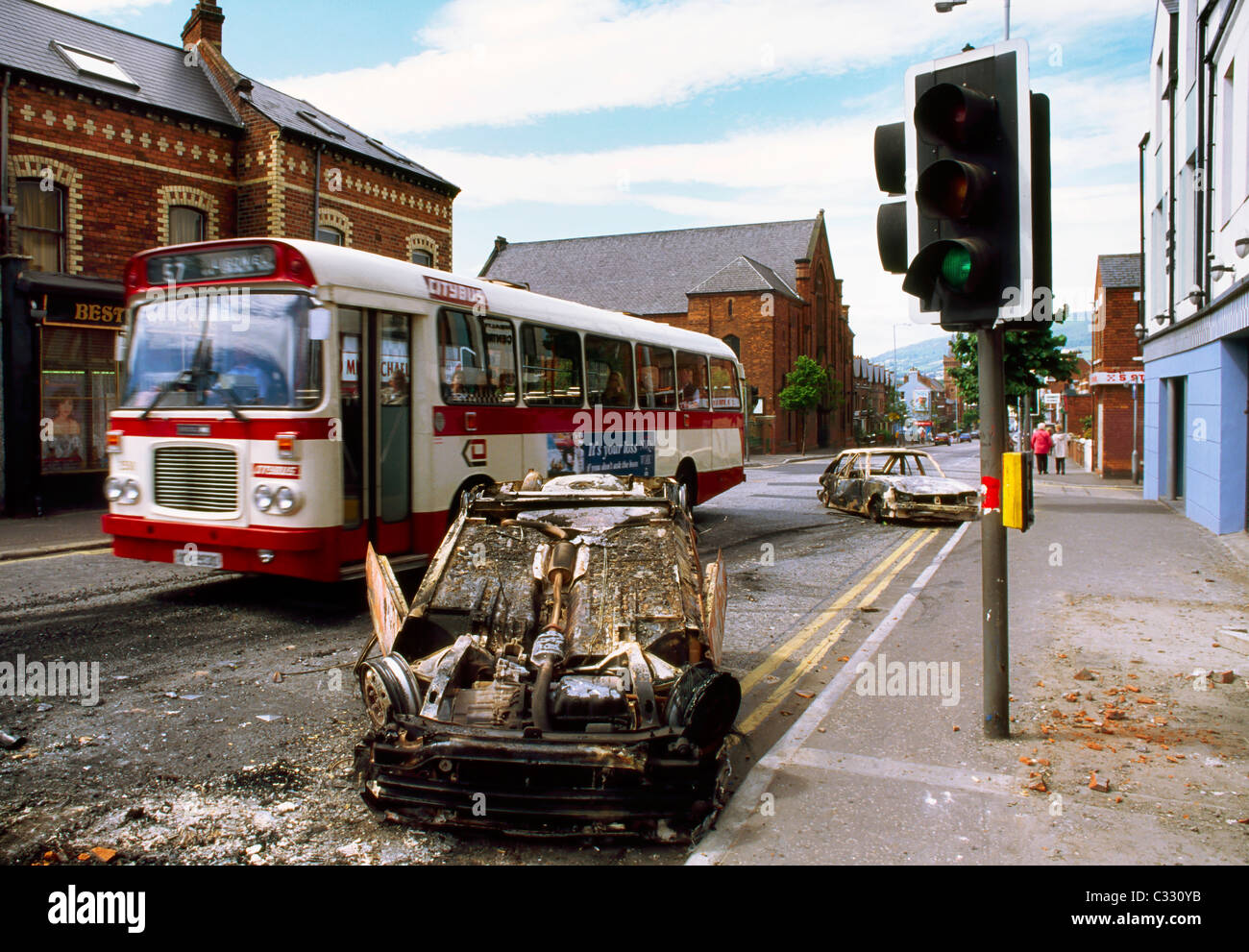 Belfast, County Antrim, Northern Ireland, Donegall Rd, Burnt Out Car, Northern Ireland Troubles - Stock Image