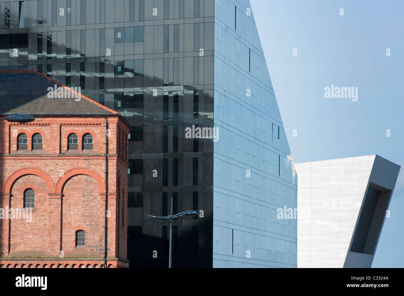 Abstract architecture - old contrasting with the new Mann Island development, in Liverpool. England. - Stock Image