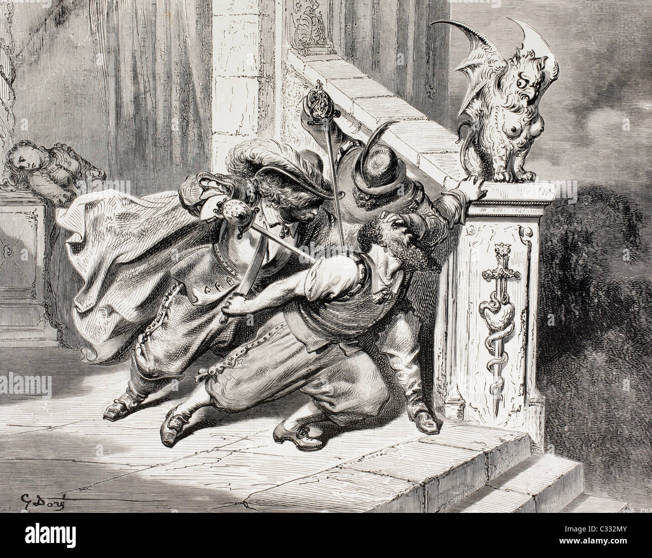 Scene from Bluebeard by Charles Perrault. The brothers kill Bluebeard and save their sister. - Stock Image