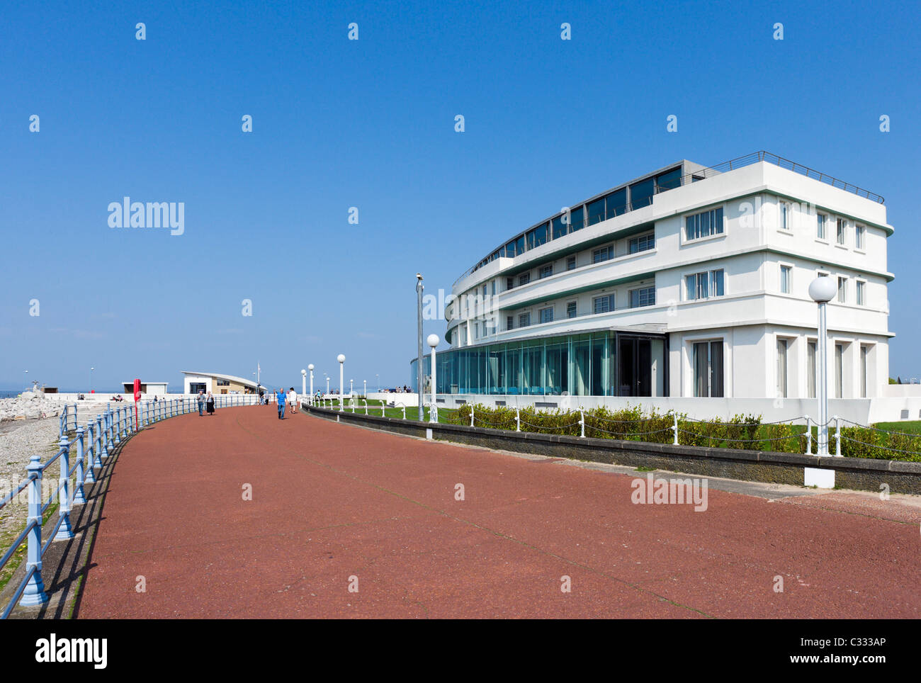 The recently renovated Art Deco Midland Hotel on the promenade in the seaside resort of Morecambe, Lancashire, UK - Stock Image
