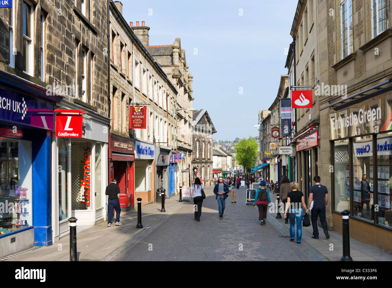Shops on Market Street in the historic city centre, Lancaster, Lancashire, UK - Stock Image