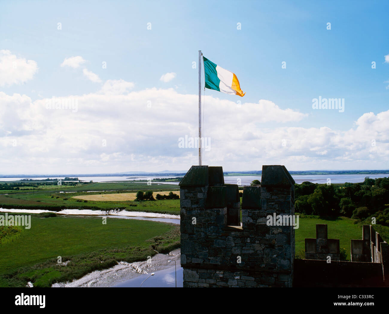 Irish Flag, Bunratty Castle, Co Clare, Ireland - Stock Image