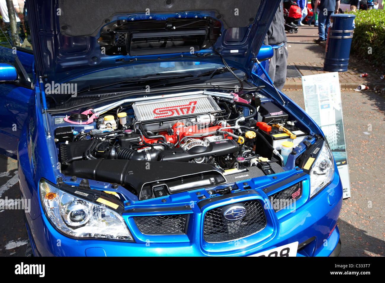 clean spotless engine of a subaru impreza wrx sti show car at a modified car show in the uk Stock Photo