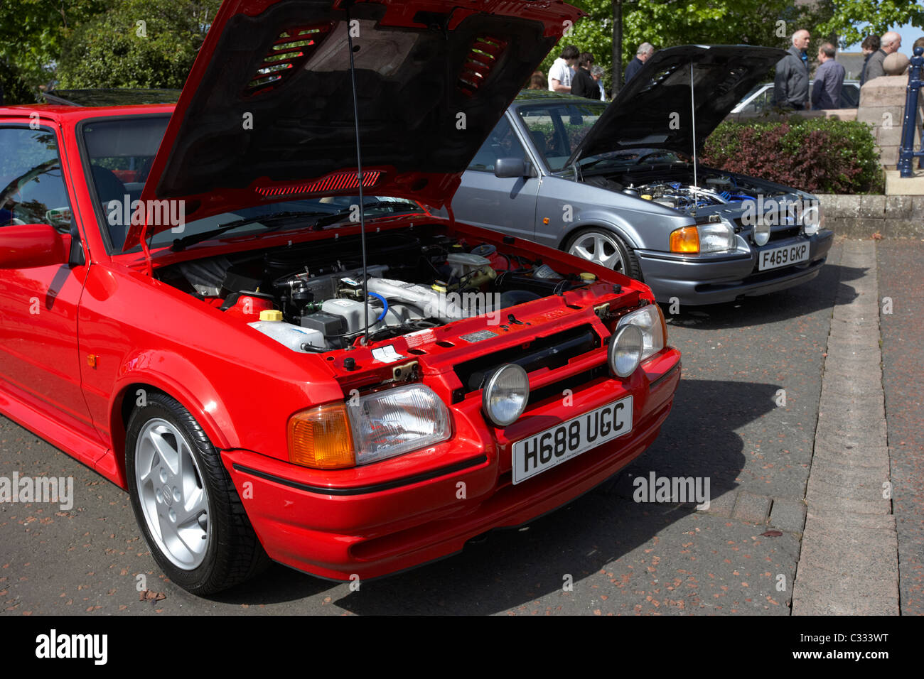 Two Spotless Clean Ford Escort Xr3i Show Cars At A Modified Car