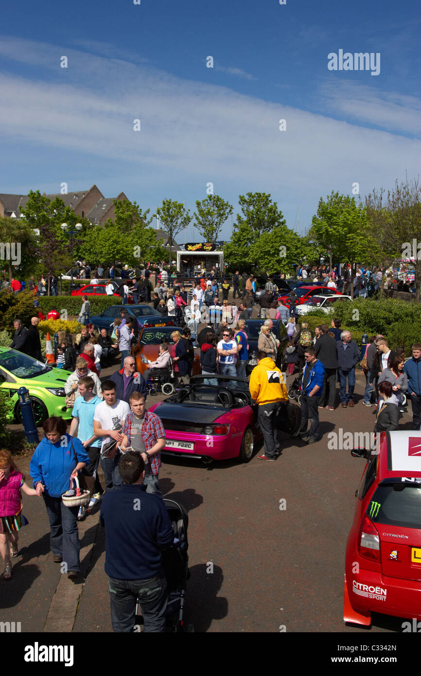 crowds at a modified car show in the uk - Stock Image