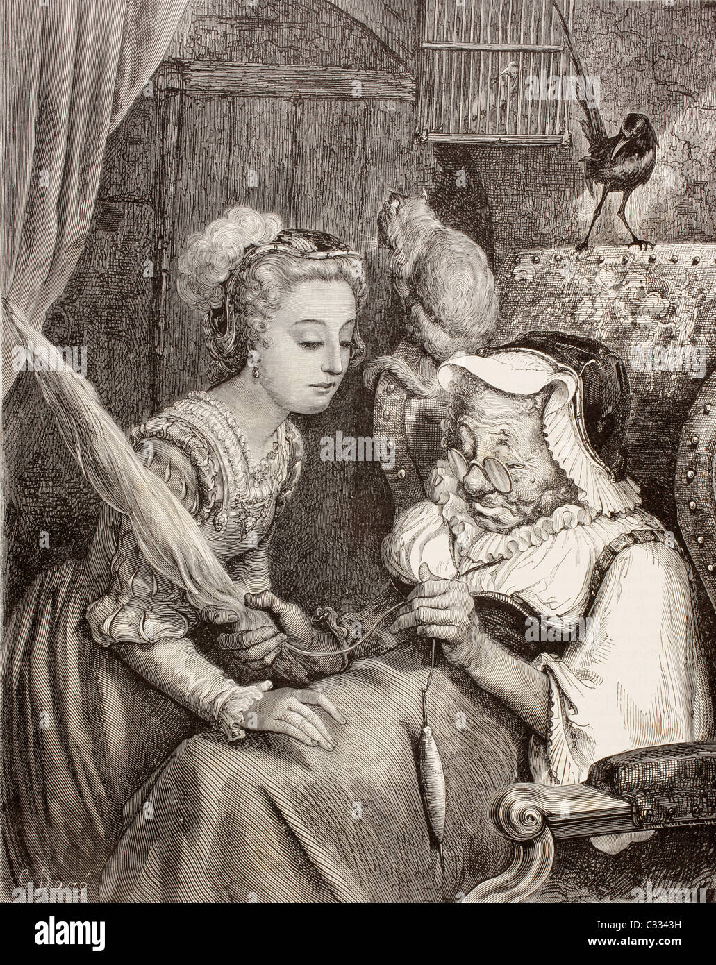 Scene from Sleeping Beauty by Charles Perrault. The Princess finds an old woman spinning, not knowing she is the - Stock Image