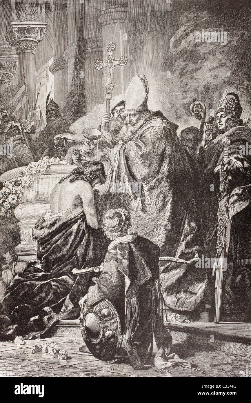 Baptism of Saint Stephen I, born Vajk, first King of Hungary. After a work by G. Benczur. - Stock Image