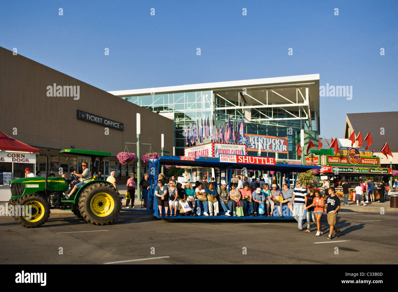 Shuttle Carrying Visitors to the 2009 Kentucky State Fair in Louisville, Kentucky - Stock Image