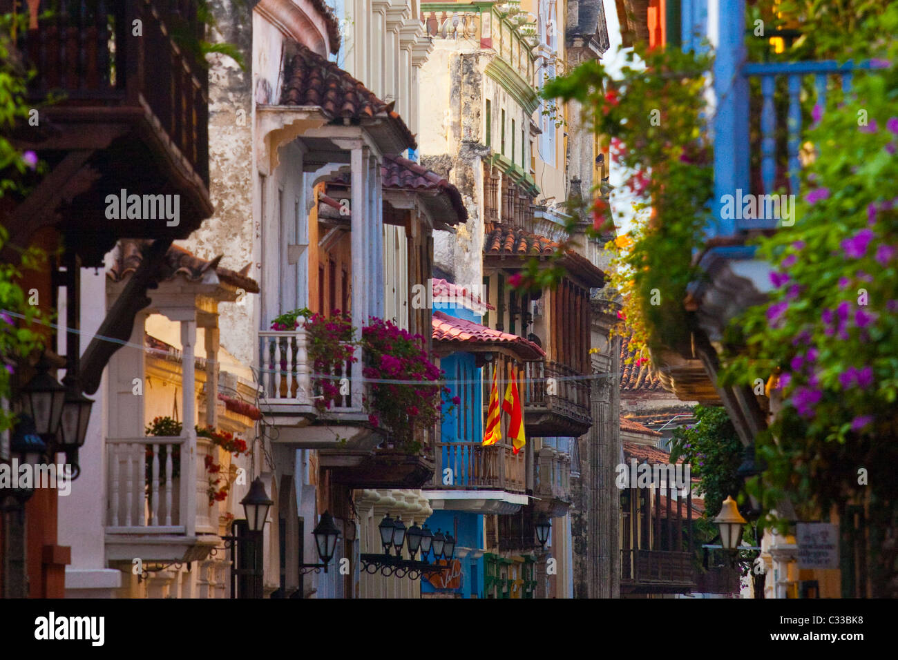 Balconies, Cartagena, Colombia - Stock Image
