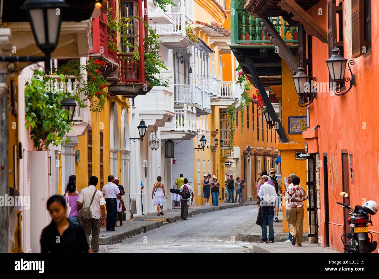 Balconies, Cartagena, Colombia - Stock Image