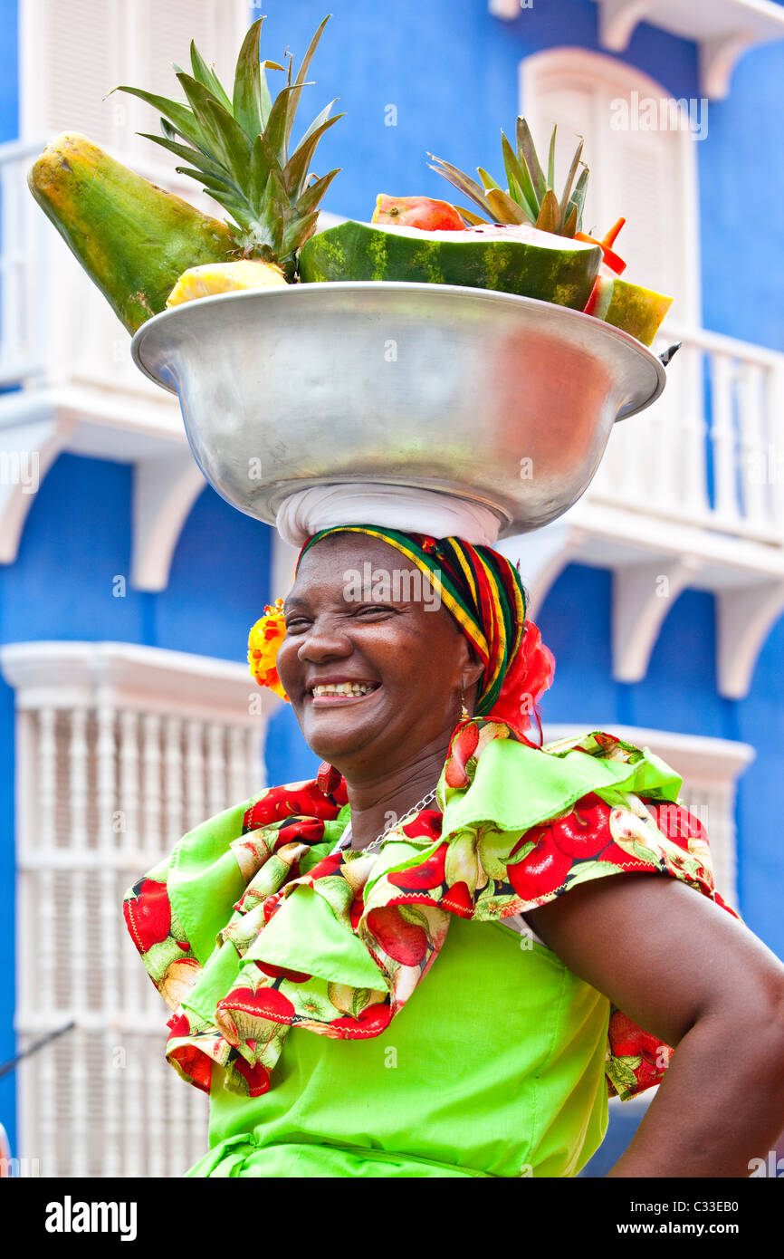 Fruit lady, old town Cartagena, Colombia - Stock Image