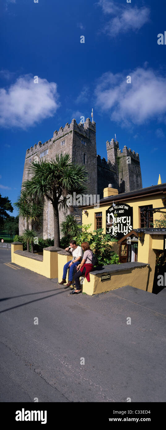 Bunratty Castle,Co Clare,Ireland;View Of Castle And Pub Dirty Nelly's - Stock Image
