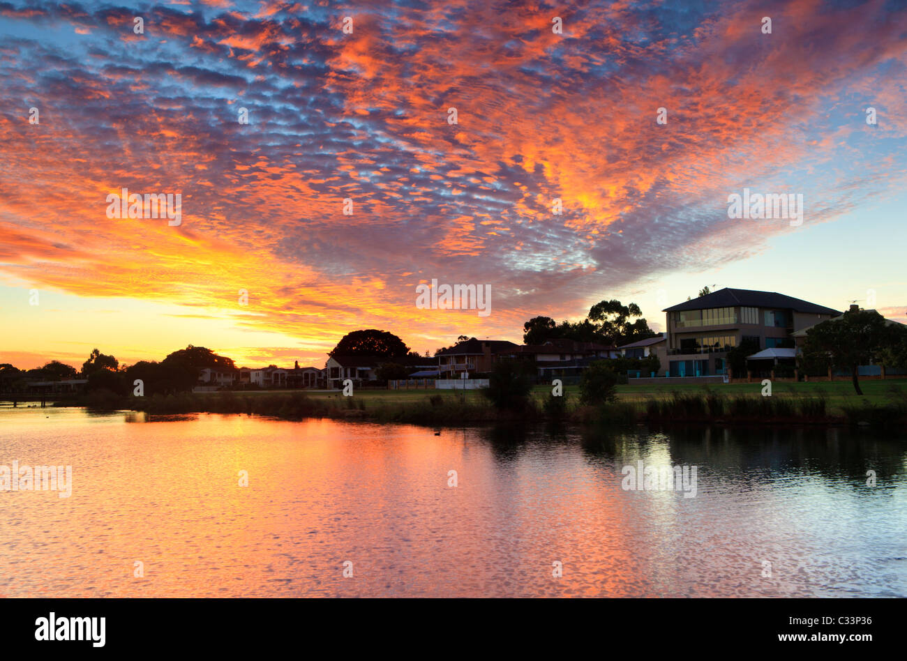 Large lakeside houses at sunset in affluent South Perth, Western Australia. - Stock Image