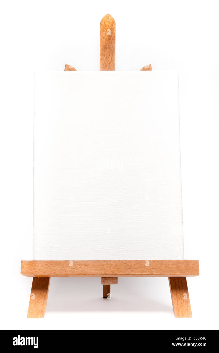 easel with a blank canvas on it - Stock Image