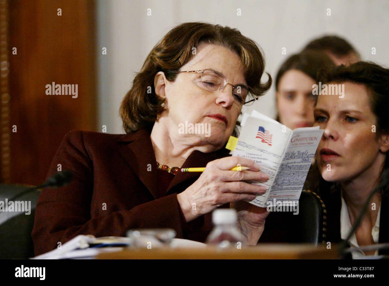 Senator Dianne Feinstein The Senate Judiciary Committee hearing for Eric Holder, President-Elect Obama's nominee - Stock Image