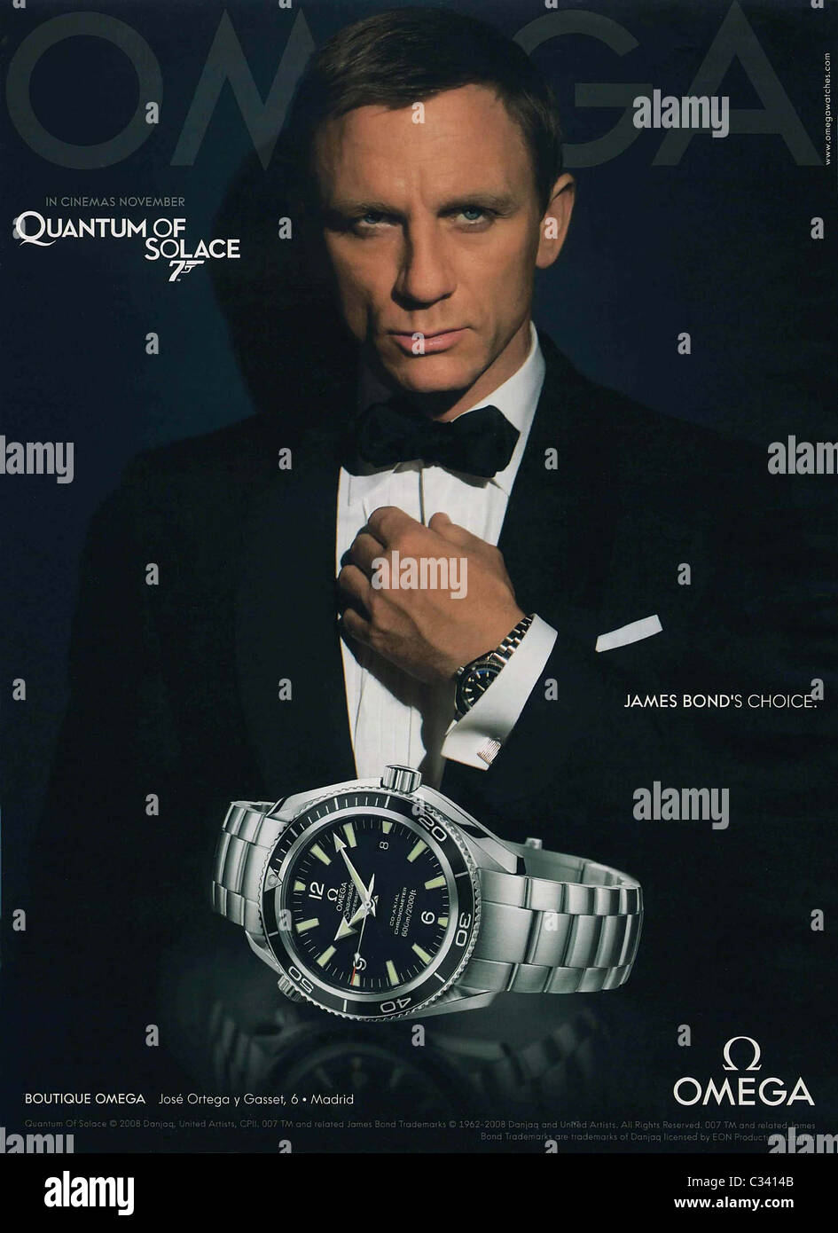 2a0eab9cefb Daniel Craig in an advertising campaign for Omega watches November 2008  This is a PR photo.