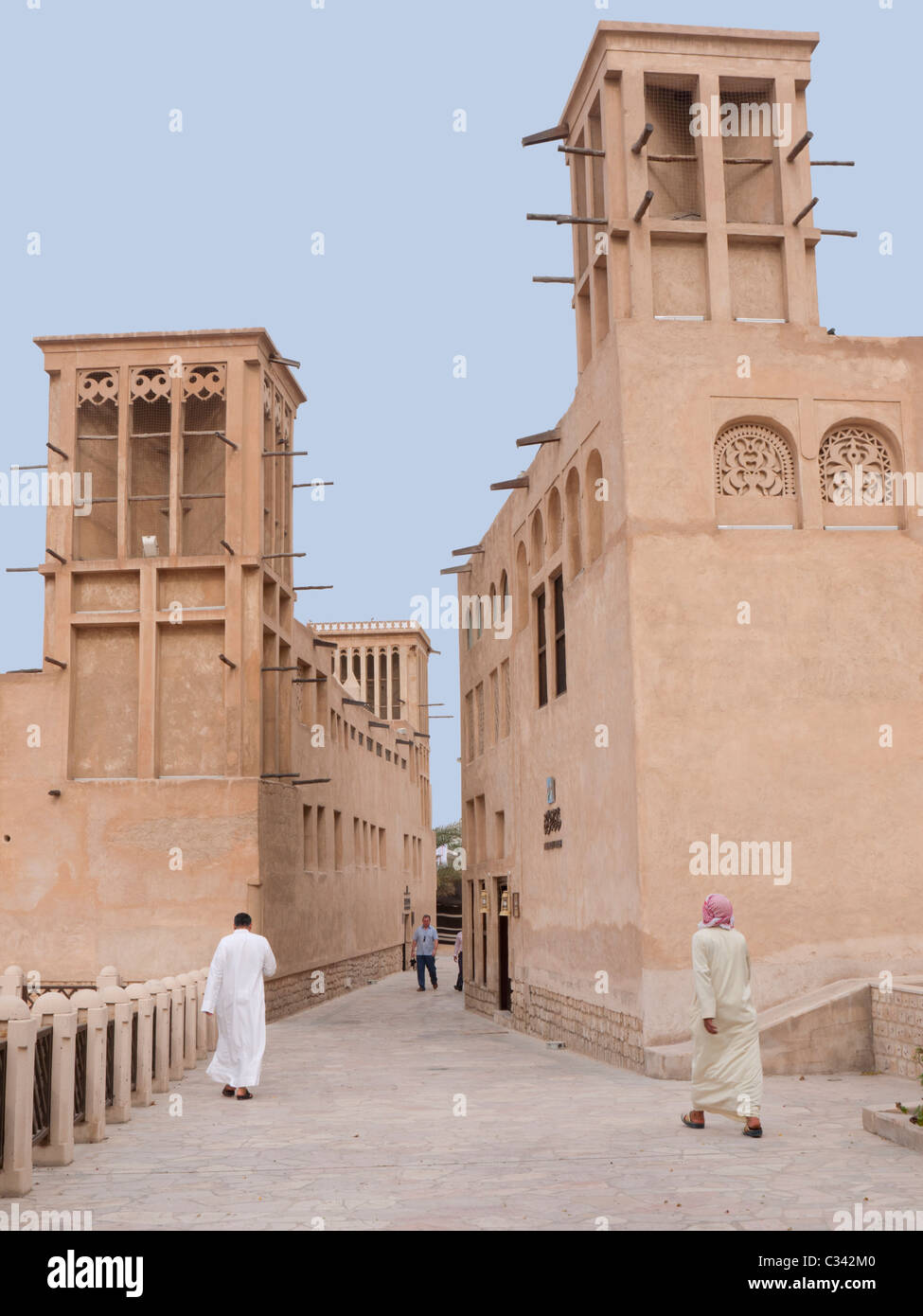 Bastakia or Al Bastakiya Quarter Bur Dubai, Dubai, United Arab Emirates, UAE - Stock Image
