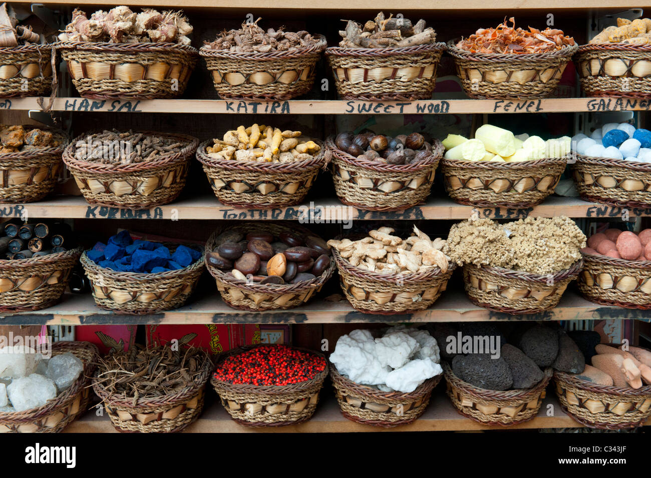 Colourful exotic spices for sale in Deira Spice Souk in old Dubai UAE Stock Photo