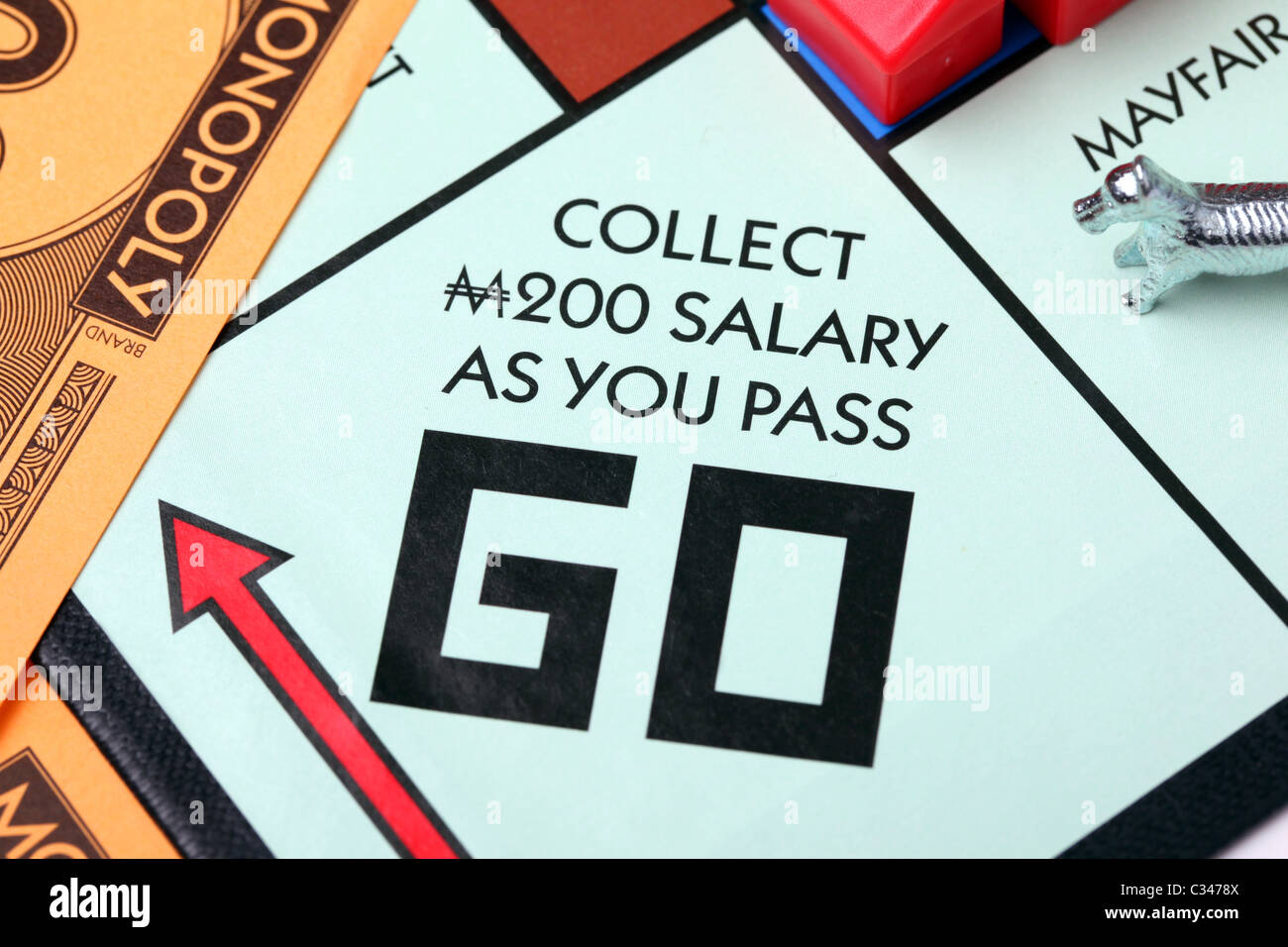 Collect 200 pounds as you pass go. Monopoly Stock Photo ...