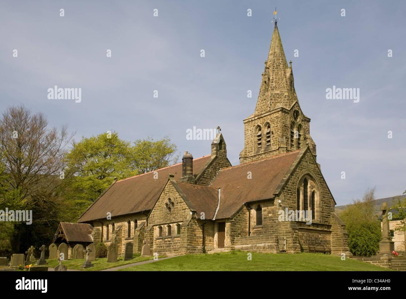 England Derbyshire Peak district Edale church - Stock Image