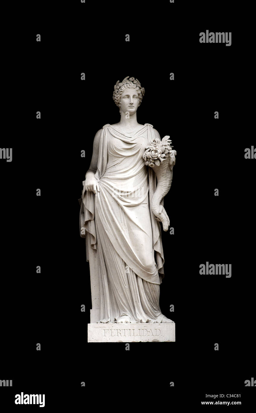Allegorical sculpture (fertility) by Valeriano Salvatierra y Barriales, Museo del Prado, Madrid - Stock Image