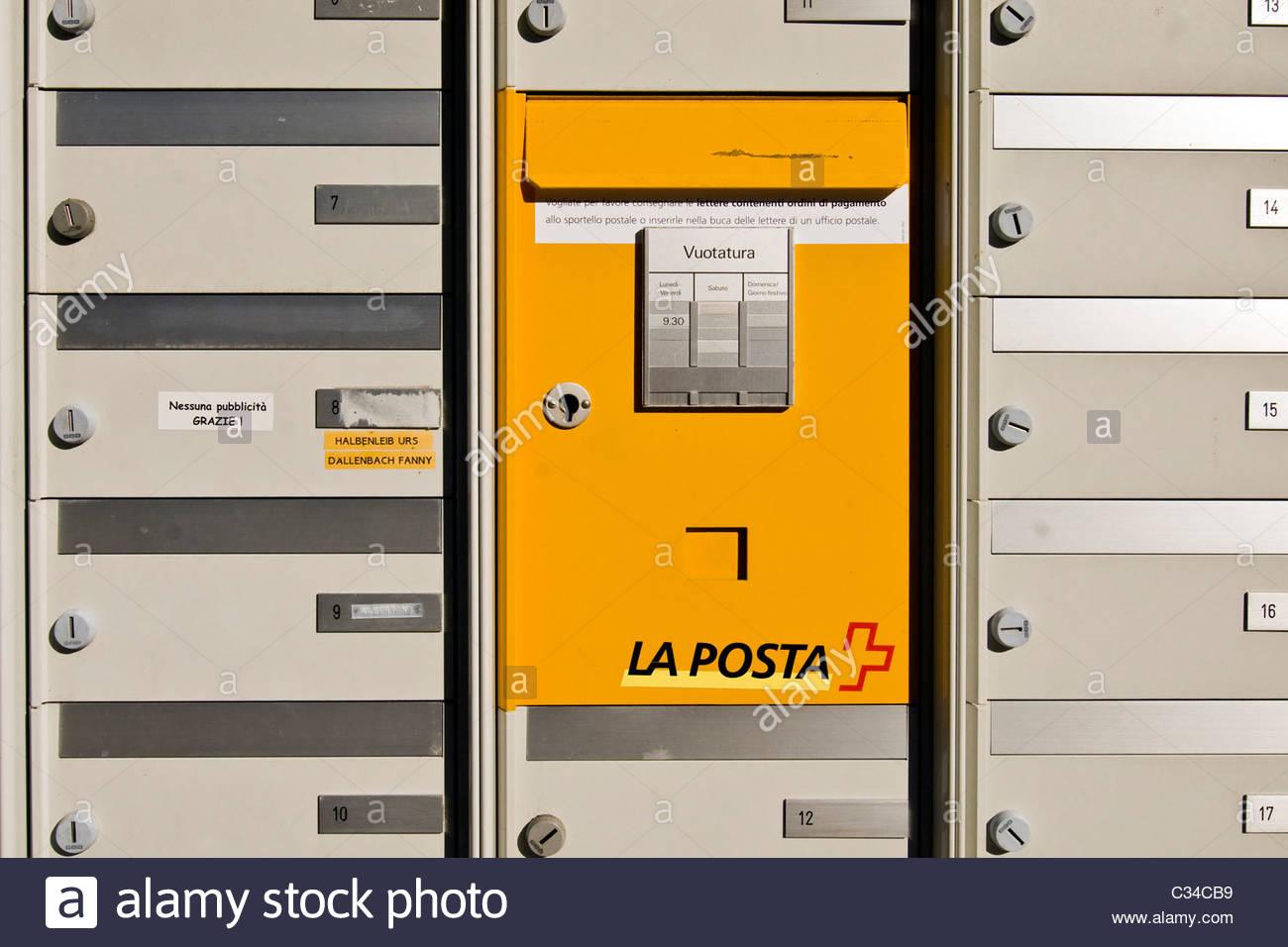 mailbox, Verzasca Valley, Switzerland - Stock Image
