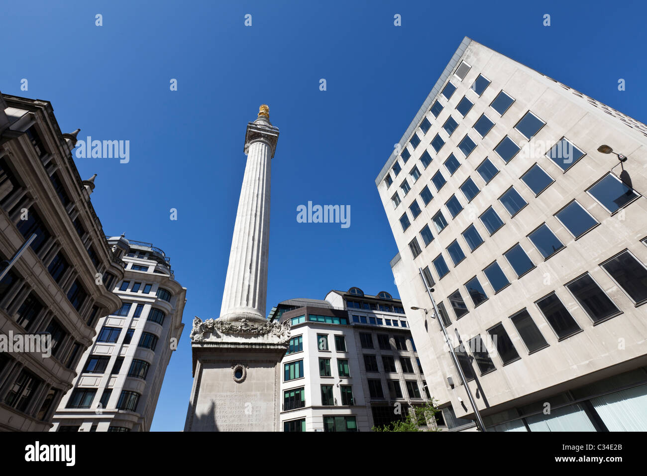 The Monument to the Great Fire of London - Stock Image