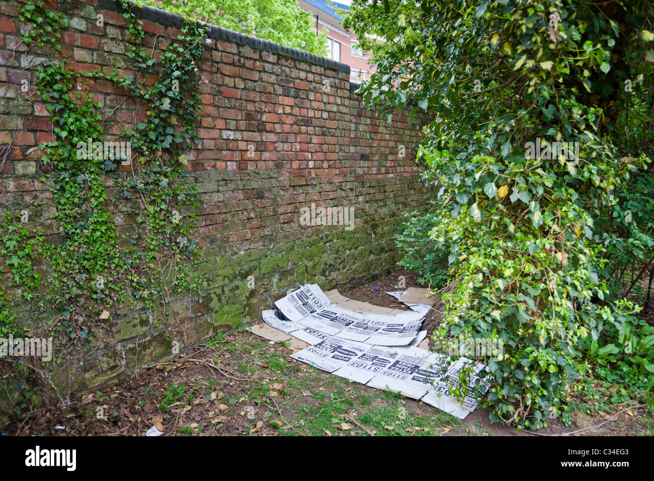Homelessness UK: cardboard bed used by the homeless, hidden in bushes in Nottingham, England, UK - Stock Image