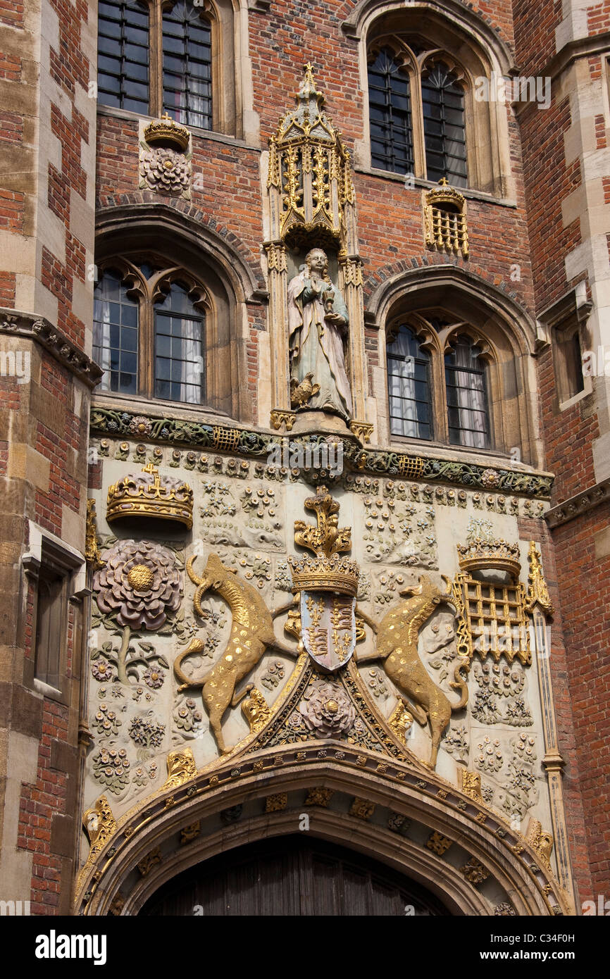 The front entrance to St John's College in Cambridge, UK, where a lunch was hosted for Britain's Queen Elizabeth Stock Photo