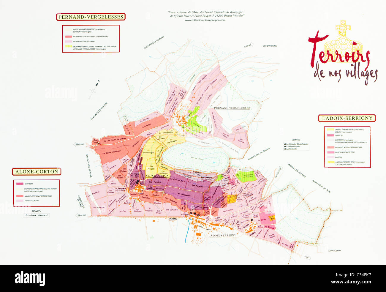 Map Of Vineyards Of Cote De Beaune Region Burgundy France Stock