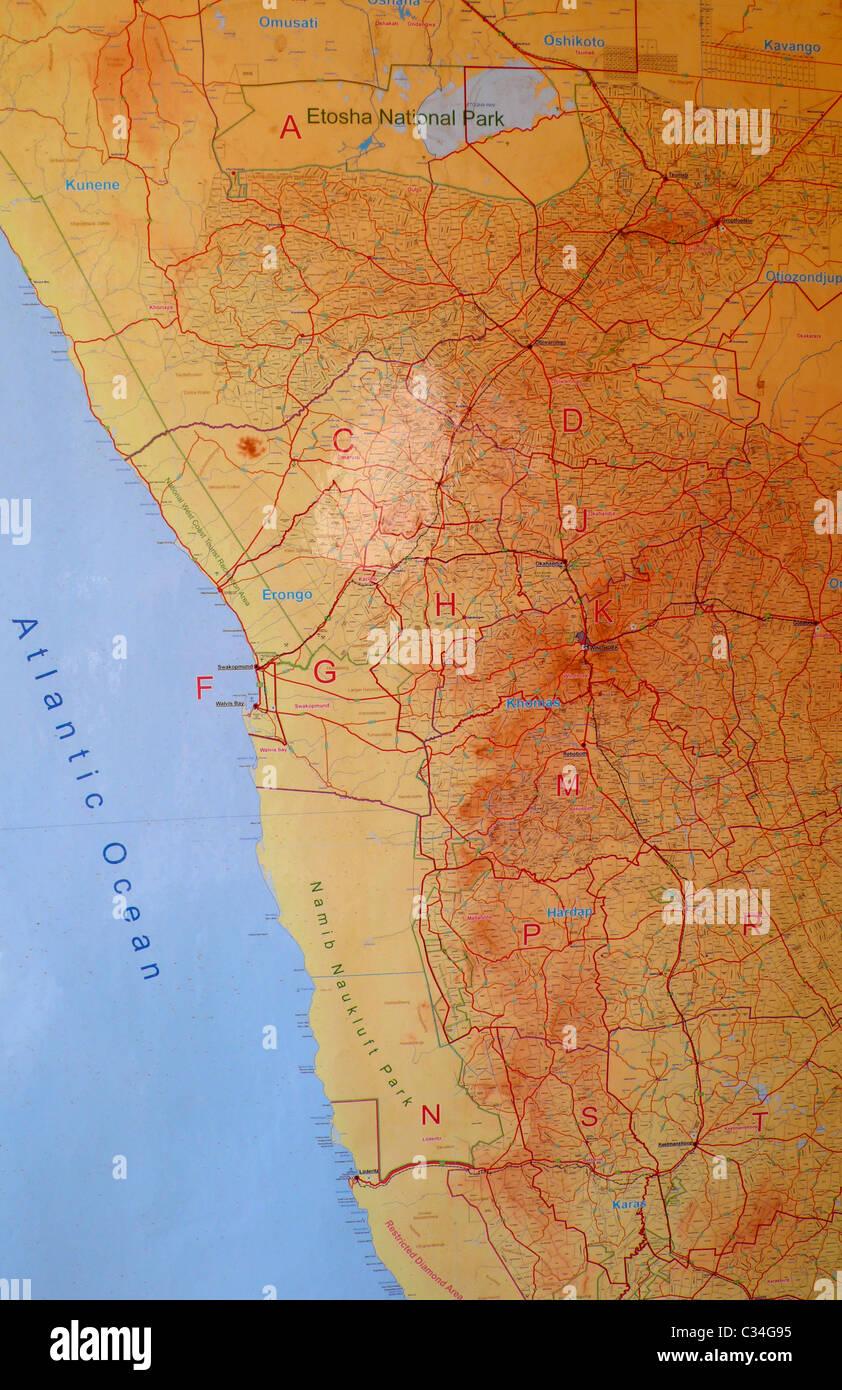 Atlas topography map stock photos atlas topography map stock map of namibia africa stock image gumiabroncs Gallery