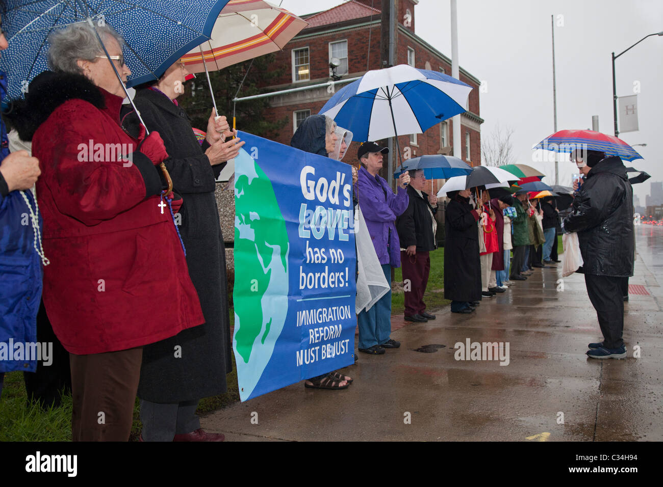 Prayer Vigil for Immigration Reform - Stock Image