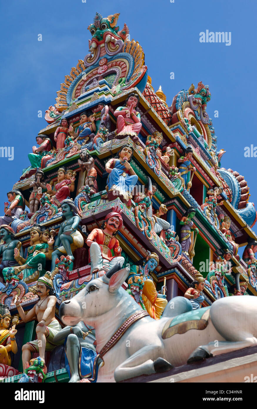 Sri Mariamman Hindu Temple in Singapore - the gopuram (tower) 3 - Stock Image