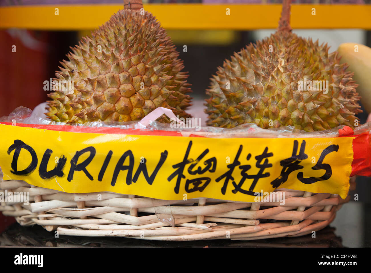 The infamous, smelliferous Durian fruit on sale in Singapore - Stock Image